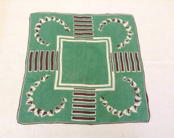 Vintage Handkerchief / Green  Linen