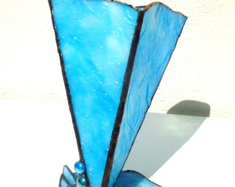 This stained glass Tiffany vase is called Ocean