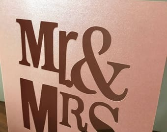 Mr. and Mrs. Laser Cut Card/Weddings/Bridal Shower/Wedding Shower/Greeting Card/Congratulations/Best Wishes