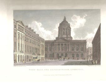Liverpool Town Hall and Mansion House c.1830 Antique Engraving