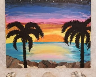 Sunset Beach Painting with Nautical Rope Border