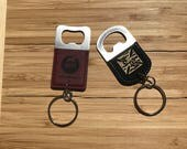Custom Engraved Leather Keychain