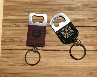 Custom Engraved Leather Keychain