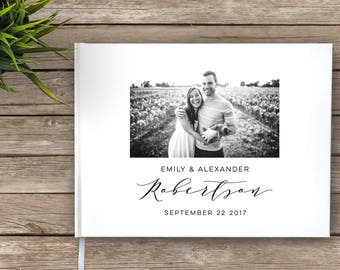 Wedding Guest Book with photo, Photo guest book, Calligraphy script, Custom Guest Book, Personalized Guest Book, modern guest book
