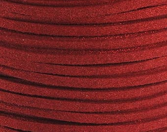1 meter of 3 mm glitter red suede cord