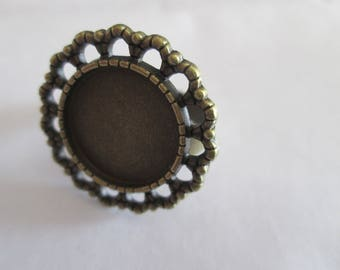 Adjustable ring bronze cabochon 16 mm