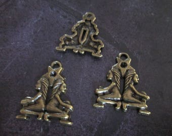a sign of Zodiac Gemini metal bronze charm 20 x 20 mm