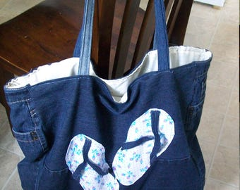 Beach bag made from recycled