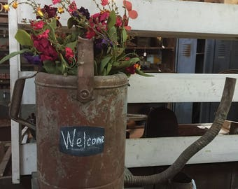 Vintage Galvanized Oil/Gas Can w/Handle & 2 Flower Bunches~Rustic Home Decor