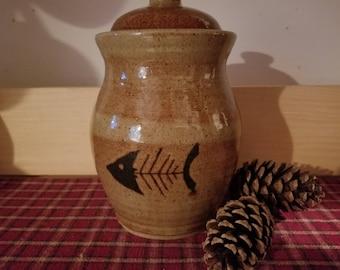 Light rust covered jar, fish skeleton jar, pottery canister, fish canister,  pottery canister,