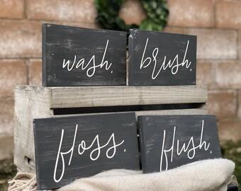 4 Bathroom Signs | Wash Brush Floss Flush | Customized Wooden Bathroom Sign