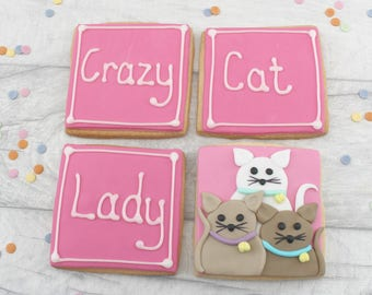 Birthday cookies for crazy cat lady, birthday cat cookies, crazy cat lady gift, cat themed biscuits, edible gift for cat owner, present,