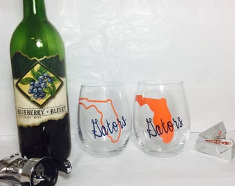 Florida gators wine glass, college football wine glass