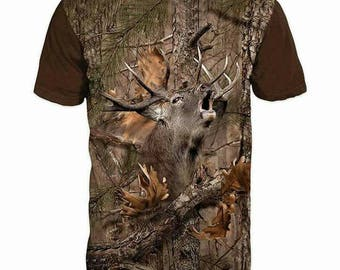 New ultramodern 3D  High Quality  Print Hunting DEER Real Camouflage short Sleeve t-shirt
