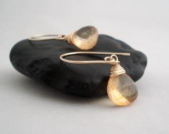 Citrine Earrings in Gold, November Birthstone, Gold Drop Earrings, Yellow Dangle Earrings, Gift Idea For Her, Boucles D'Oreille Citrine Or