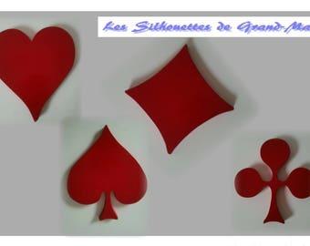 """4 coasters bottle """"playing cards symbols"""""""