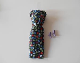 Vintage Barbie Apple Print Sheath Dress 0917 (1959 -1960)