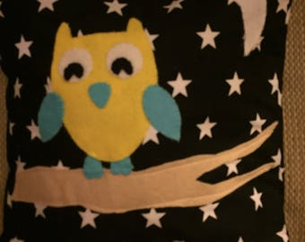 Night Owl felt appliqué cushion