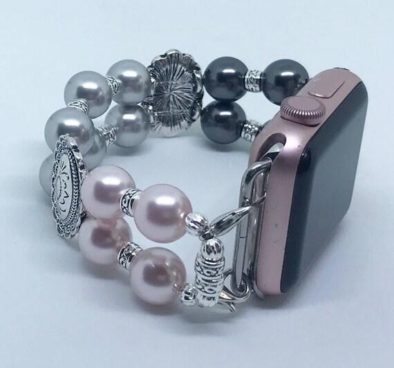 "Apple Watch Band, Women Bead Bracelet Watch Band, iWatch Strap, Apple Watch 38mm, 42mm, Pink Silver Black Swarovski Pearl Size 6 1/4"""