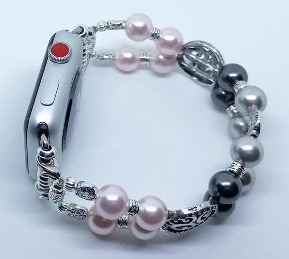"Apple Watch Band, Women Bead Bracelet Watch Band, iWatch Strap, Apple Watch 38mm, 42mm, Silver Pink & Black Swarovski Pearl Size 8"""