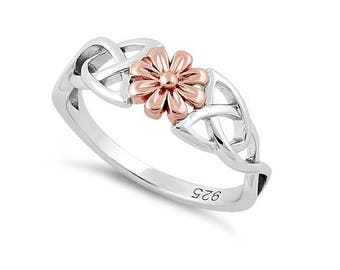 Celtic Flower Rose Gold and Sterling Silver Ring