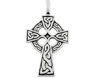 Celtic Cross Irish Sterling Silver Pendant
