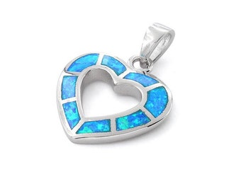 Sterling Silver Heart Pendant Blue Opal Heart Necklace Something Blue/bridesmaid jewelry/bridal jewelry/birthday gift for her/love jewelry
