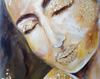 Original painting , acrylic painting, gold , women face , face painting, V.Alekne's art