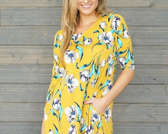 Style By Chris Grape A-Line Swing Dress with Pockets Mustard/Grey