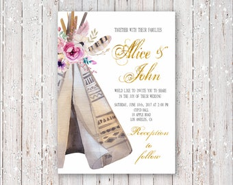 Bohemian Teepee With Flowers and Gold Foil Font Wedding Invitation Digital Printable
