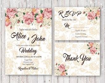 Vintage Roses With Gold Damask Wedding Invitation Set Digital Printable