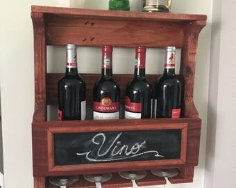 Hanging Wine Rack - Handmade from reclaimed pallet wood - Chalkboard front