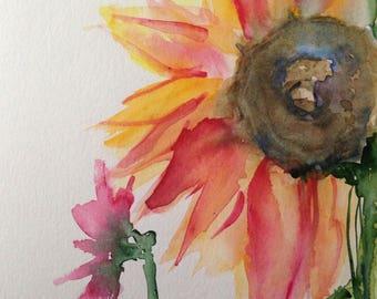 ORIGINAL WATERCOLOR art watercolor painting sunflowers flowers Watercolour