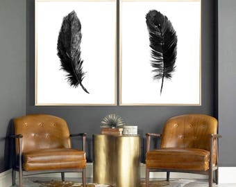 feather art print feather black feather set of 2 feather watercolor painting feather print feather poster black feather feather minimalist