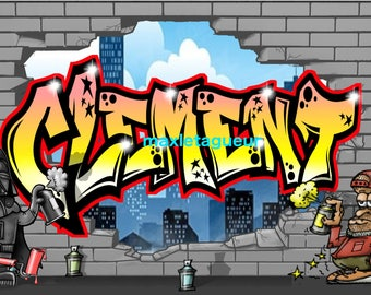 GRAFFITI TAG STICKERS PERSONALIZES CLEMENT