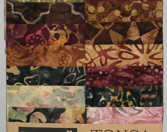 "Tonga Treats Batiks - Vineyard Strips Junior / Junior Jelly Roll by Timeless Treasures - 20, 2.5"" Strips per pack"