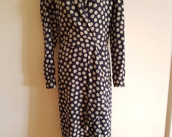 Vintage 100% Silk Navy and Taupe Spot Georges Wrap Style Midi Dress AU Size 12