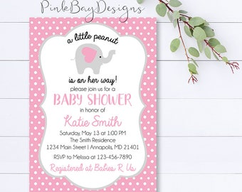 Girl Elephant Baby Shower Invitation, A Little Peanut Is On Her Way Invite, Girl Baby Shower Invite, Pink And Grey Shower Invitation