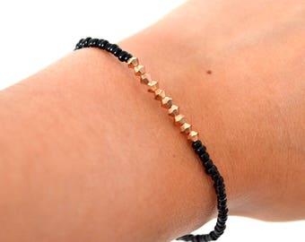 Vente de liquidation > Bracelet TOUPIES Doré Rose // Bracelet élastique avec toupies doré rose Swarovski et perles Miyuki de couleurs