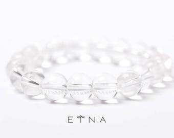 Clear Round QUARTZ CRYSTAL Bead BRACELET, glossy bead bracelet, stretch bracelet, transparent bead, stacking bracelet, beaded bracelet
