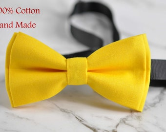 Unisex Men 100% Cotton Quality Yellow Solid Color Handmade Bow Tie Bowtie Craft Wedding Party