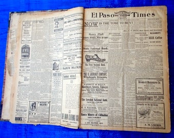 Original El Paso Times newspapers, July thru December, 1900  Texas