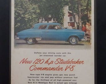 Studebaker Commander V-8, Vintage Auto Ad, 1951, Paul Hesse, Joseph H Sharp, Man Cave Decor, Garage Decor, Classic Car