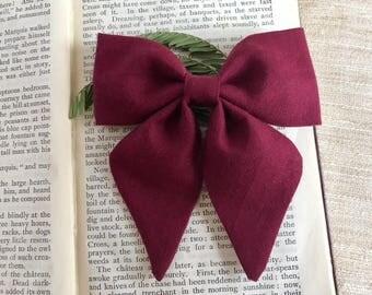 Burgundy Hair Bows - Baby Hair Bows - Baby Girl Bows - Baby Headband Bows - Hair Bows - Sailor Bows - Girl Hair Bows -Baby Bows - Girls Bow