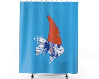fish shower curtain creative bathroom christmas gift fisherman present funny home decor