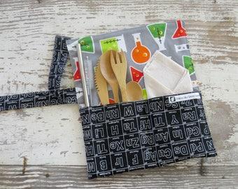 Travel Cutlery kit, on the go kit, zero waste kit, lunch time kit, Navy and yellow airplane travel utensil case,zero waste bamboo silverware