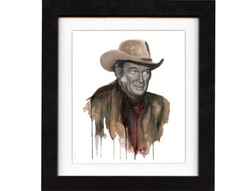 art, james stewart, art print, print, ranch, cowboy art, cowboy, gift, hat, old, western, decor, wall art, portrait, famous, saltwatercolors