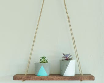 Stained Wood Hanging Shelf, Swing Shelf
