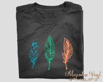 Boho Feather Trio T-Shirt , Boho, Feathers, Wanderlust, Native, Gypsy, Feather Tee, Short or Long Sleeve