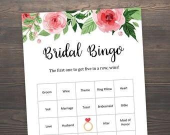 60 Prefilled Bridal Bingo Cards, Bridal Shower Games, Floral Bridal Shower, 60 Bridal Bingo Printable, Prefilled Bingo Cards, J003